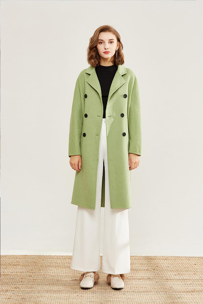 9021果绿色大衣